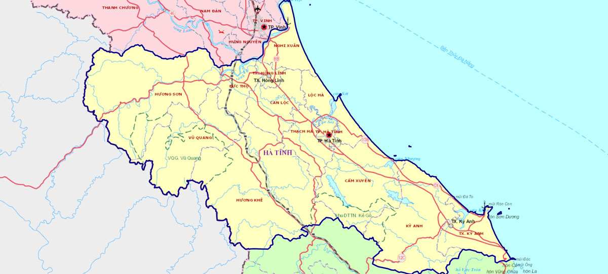 Bản đồ địa giới Hà Tĩnh